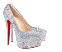 rhinestone sexy high heel shoes woman 2012 platform pumps high heels wedding shoes crystal silver red beige