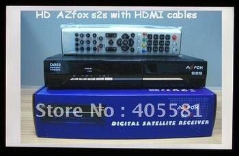 Digital TV satellite receiver 15pcs/lot  azfox s2s,DVB hd  decoders , azfox s2s full hd 1080p,with HDMI
