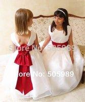 2015 new flower girl dress for wedding pairt  red belt and bow dress children dress girl dess princess 2-12age free shipping
