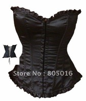 Sexy  Women Boned Overbust Corset Bustier Costume Lingerie  + G-string Black Simple Style S-4XL