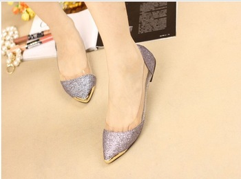 free shipping/Euramerican metal shining clear pointed toe flats, low heels women shoes.casual shoes,4 colors,euro35-40