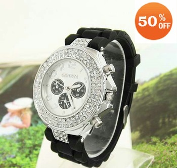 Christmas gift Muliti Colors Wholesale  Silicone Watch Full Crystal Watch Women Wrist Watch Ladies GV002-8