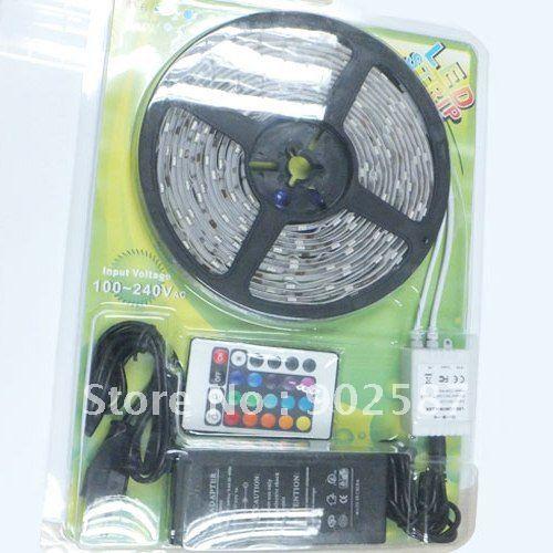 Free Shipping 5050 RGB Waterproof Flexible LED Strip Kit 150 Led 30 leds/Meter + 24 Key IR remote Controller Strip LED 5M(China (Mainland))