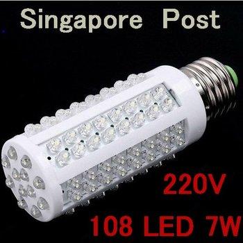 1pc YM05 Corn Bulb E27 7W 520 LMs 108 LED DIP 220V LED Light Bulb Warm White/White LED energy saving bulb + Free ship