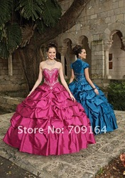 Vintage Sweetheart Bodice Ball Gown Beaded Taffeta Purple Red Turquoise Quinceanera Dresses Pageant FQ14(China (Mainland))