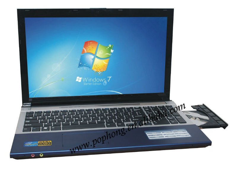 15.6inch Big Screen Computers and Laptops with DVD Burner Intel Atom D2500 Windows 7 Notebook(China (Mainland))