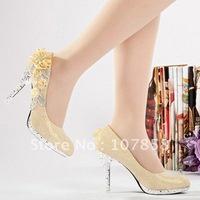 Free shipping 2014 Beautiful Women Wedding Shoes pump shoes Bride wedding shoes size: 34 - 39 (3 colors) #XZ0038