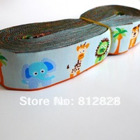 1-1/8'' 28mm Wide Funnky  Elephant Lion Tiger Giraffe Crocdile Woven Jacquard Ribbon Free Shipping DHL Express