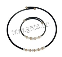 Free Shipping Freshwater Pearl Jewelry Sets necklace & bracelet with crystal beads & korea wool 6-7mm Sold by Set 2013 gift