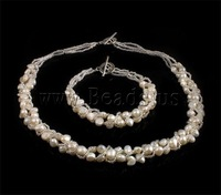 Free shipping!!!Natural Cultured Freshwater Pearl Jewelry Sets,fashion brand, bracelet & necklace, with Glass Seed Beads