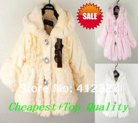PROM baby chilren girls beautiful winter coat overcoats warm fleece outfit jacket 1PCS Retail+free shipping