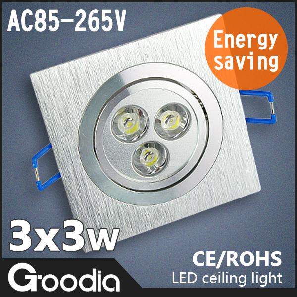 9w led ceiling light,4pcs/lot,AC85~265V,Cool white/warm white,CE & ROHS,kitchen lamp,ceiling lamp,led recessed light(China (Mainland))