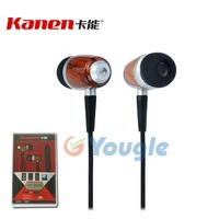 FREE SHIPPING 3.5mm Kanen IP-309 Wooden Earphone Headphone Headset with Mic for iPhone iPad Music Player