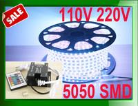 Promot Sale! 110V 220V LED Strip light 5050 60leds/m IP65 Waterproof lamp cool white RGB 100m (IR 24key controller/ RF dimmer )
