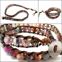 Free Shipping,Hight Quality ( 5 PCS/lots) BaoHua Agate Stone Crystal Authentic Wrap Leather Bracelet For Women Bracelet