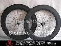 Ultralight 100% Carbon Wheels 88mm Tubular Wheels 23mm Width width Novatec A291SB/F482SB Hub and CN424 Spoke
