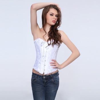 Sexy white  plus size  body shaper  Lace up boned  Corset  Bustier  clubwear   +G-string  XS-6XL