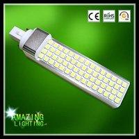 Free shiping, 11W G24/E27 LED PL lamp, 900-1050lm, G24(2 PINS OR 4 PINS) 50000 hrs long lifespan