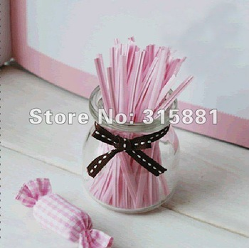 pink   Wire Metallic Twist Tie  10cm  1000pcs/lot