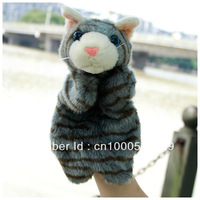 Grey CAT animal models story-telling essential props big size finger puppet hand puppet plush toys