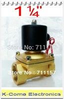 "Brass 12V DC 1.25""  Solenoid Water Valve 2 Way 2 Position Electric Solenoid Valve Water Air Gas G 1-1/4""  24v 110v 220v"
