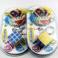 8pcs/lot high quality QJ 3CM 3x3x3 mini magic cube keychain heat transfer printing stickerless cube keychain +Free shipping
