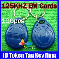 Keychain Keyfobs Em RFID Cards Control Access Token Tag Key Ring Proximity Card 125Khz TK4100 100Pcs/lot HOT Salling!!