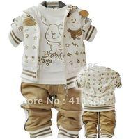 3sets/lot Fashion kids sporty suits (tops +pants ) 6 colors good quality baby clothing set cotton infant clothes wholesale