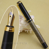 "Hot-selling Baoer 507 High Quality Cheap Price Black and Golden Brass ""the eight horses"" Medium Nib Fountain Pen Free Shipping"