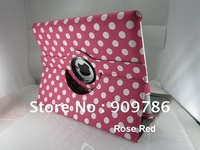 Free shipping new polka Dots cute leather case cover 360 degree rotation stander holder for ipad 2 ipad 3,Magnetic smart cover