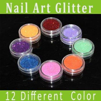 Free shipping 12 different colors Micro Glitter Powder/Nail Art Acrylic Powder