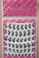 Free shipping100pcs wholesale price  Black 2D nail art sticker with  rhinestone/Nail Art Flower Sticker Decals