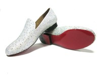 French Red Bottom Special Design for Mens/Ladies Flat Sandals with Blink Rhinestone Crystal Casual Flat Shoes