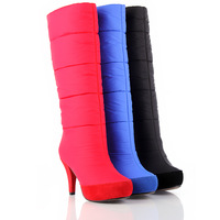 women's winter snow boots knee-high boots free shipping warm red/blue color high heels boots waterproof  boots fur SM-B006