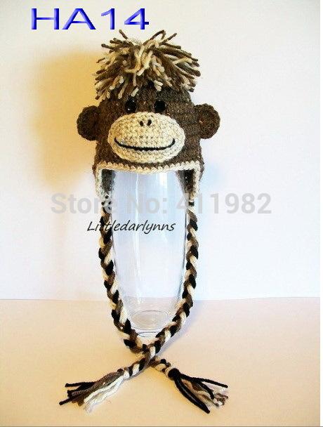 free shipping,10pcs/lot 100% cotton Hot sale kids handmade cap crochet monkey beanie handmade cap children monkey earflap hat(China (Mainland))