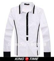 Kingtime Freeshipping New Arrival Autumn Fashion Long Sleeve Black&White Shirt For Man Personality  Wear  KTE13 Asian size