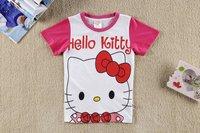 children cartoon kitty t-shirts,pure cotton sport t shirt for girls 6pcs/lot mix 6size It's hot sell free shipping