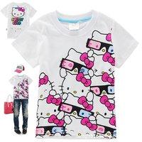 t shirt cartoon kitty t-shirts,girls t shirt pure cotton sport t shirt for girls 6pcs/lot mix 6size free shipping