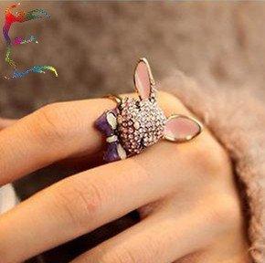 Wholesale fashion cute pink rhiestone Rabbit finger clip ring 12pcs/Lot animal cartoon ring jewelry Free shipping