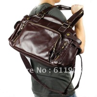 Free Shipping High Quality Brand New, Large Men's PU Leather Shoulder Schoolbag Satchel Totes Purse Bag