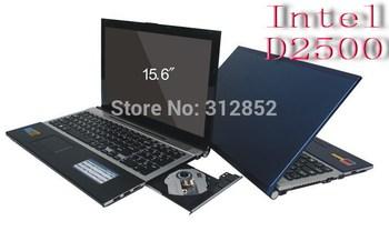 Free shipping EMS DHL 15.6 inch laptop  Intel ATOM D2500 Dual-core1.60Ghz processor 2GB RAM&320GB HDD WIN7OS DVD-ROM WIFI WEBCAM