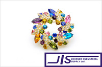 6 Colors available, Multi Colors Crystal with 18K Gold plated Round Style Pin Brooch, Pin Badge, Minimum Order $9.99/order,0341