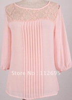 free  shipping uk  hot  selling  Imitate  silk  chiffon  three  quarter  sleeves  ladies lace  blouse,cancelled  orders