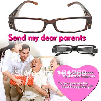 +2.0 Strength Brown LED Reading Glasses with LED light unisex reading glasses magnetic fashion men women's reading eyeglasses