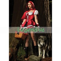 Holiday Sale Sexy Little Red Ridding Hood Cosplay Halloween Adult Costume Fancy Dress Clubwear Wholesales Free Shipping