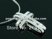 Wholesale Free Shipping Cross Pendant Austrian Crystals Necklace CSN070