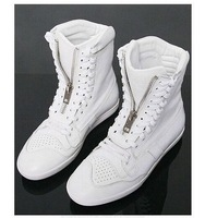new arrival the designers low mid-culf zipper fashion boots men shoes sneaker size 39 40 - 43  44 (Black, White) Free shipping