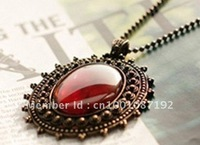 Oval Amber necklace Retro Bohemia Red Opal Cat 's-eye