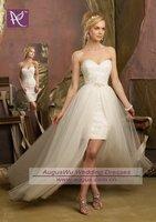 AWB0726 2013 Designer New Fashion Lace Inside Detachable Skirt Wedding Dress