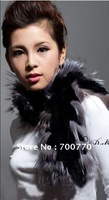 Free Shipping Quality Supplier Knit Rex Rabbit Fur Scarf With Fox Fur Rounded 100% Handcrafted Wholesale/Retail